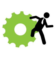 Businessman holding a gear vector
