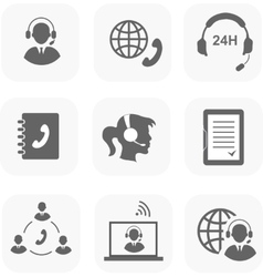 Call center servise set icons phone assistance and vector