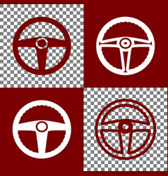 Car driver sign bordo and white icons and vector