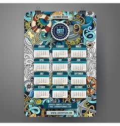 Cartoon doodles nautical 2017 calendar vector