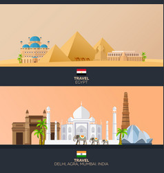 egypt and india tourism travelling vector image vector image