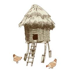 Ethnic village coop vector