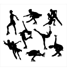 Figure skating silhouette vector