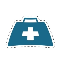 First aid kit suitcase emergency clinic cut line vector