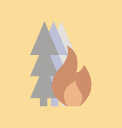 Flat icon on stylish background forest fire vector