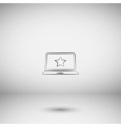 Flat paper cut style icon of laptop vector image vector image