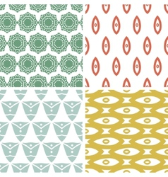 Four tribal shapes abstract geometric patterns and vector