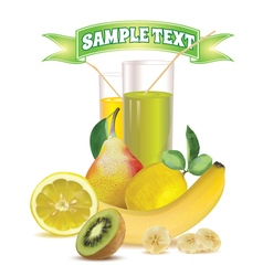 glasses with juice lemon pear and kiwi vector image