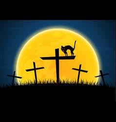 halloween growl black cat cross moon graveyard vector image