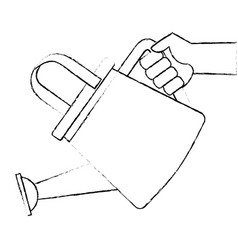 Hand with gardener plastic sprinkler icon vector