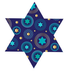 Jewish star with mod background pattern vector