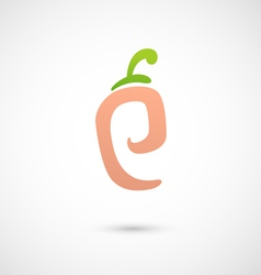 Peach icon - alphabet shape p vector