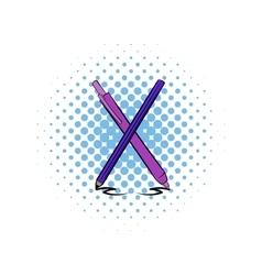 Pen and pencil comics icon vector