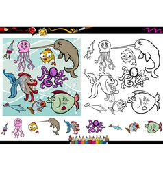 sea life cartoon coloring page set vector image vector image