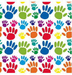 Seamless background with hand prints vector