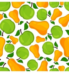 Seamless pattern of pears and apple vector image