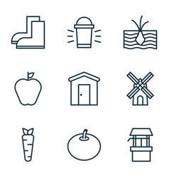 Set of 9 plant icons includes hang lamp vector