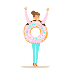 Smiling woman wearing donut costume fast food vector