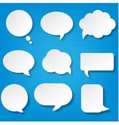 speech bubbles set with blue background vector image vector image