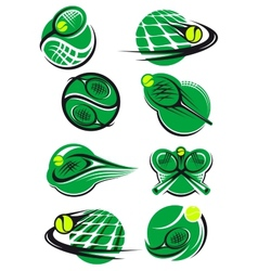 Tennis icons and symols with rackets balls net vector image