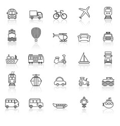 Transportation line icons with reflect on white vector