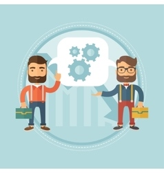 Two businessmen sharing business ideas vector image vector image