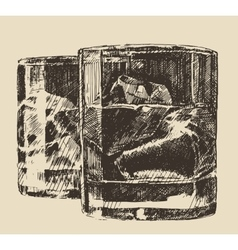 Two glass whiskey vintage retro hand drawn sketch vector image