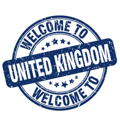 Welcome to united kingdom blue round vintage stamp vector