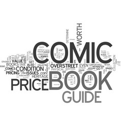 What is a comic book price guide text word cloud vector