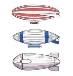 Colorful airships zeppelins vector