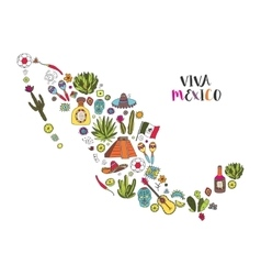 Doodles set of mexico in geographic map vector