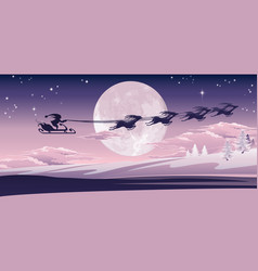 Santa flying in his sled vector
