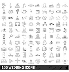 100 wedding icons set outline style vector image