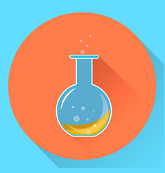 Glass chemical flask with a liquid substance vector