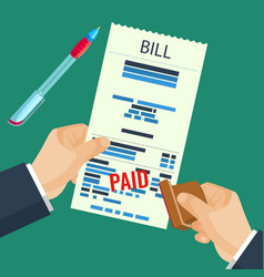 Paid bill in human hands with rubber stamp vector
