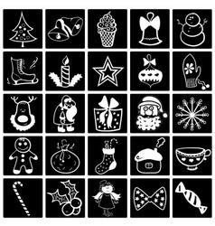 Christmas black-white icon set vector image