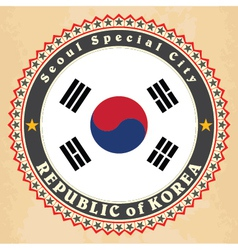 Vintage label cards of South Korea flag vector image