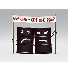 Two oil barrels on sale caricature vector