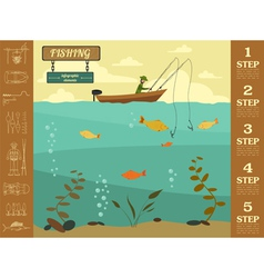 Fishing infographic elements set elements for vector