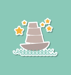Marine ship sailboat stars on blue background vector image