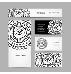 Business cards collection abstract floral design vector