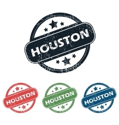 Round houston city stamp set vector