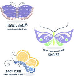 Set of butterfly logos vector