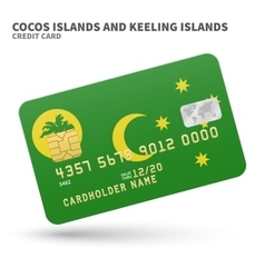 Credit card with cocos and keeling islands flag vector