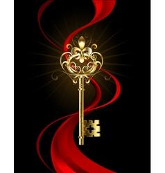 Golden key with a fleur de lis vector