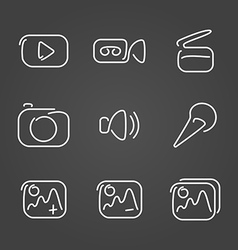 Video and multimedia set icons draw effect vector
