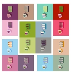 Modern flat icons collection cup coffee and vector