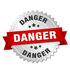 Danger 3d silver badge with red ribbon vector