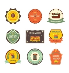 Handmade workshop retro slyle labels vector