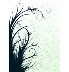 abstract lines with flowers vector image vector image